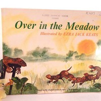 Over the Meadow Children's Picture Story Book Vintage 1971 1st Edition Classic Woodland Animal Story Color Illustrated Softcover Book