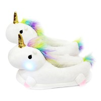 Unicorn Led Glowing Unicorn Slippers Kids Winter Warm Boy Girls Plush Slippers Unicorn Slippers Light Up Led Children Home Shoes