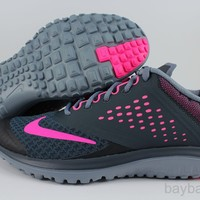 NIKE FS LITE RUN 2 CLASSIC CHARCOAL/PINK POW/GRAPHITE GRAY FREE FLEX WOMEN SIZES