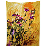 Ginette Fine Art Purple Coneflowers And Butterflies Tapestry