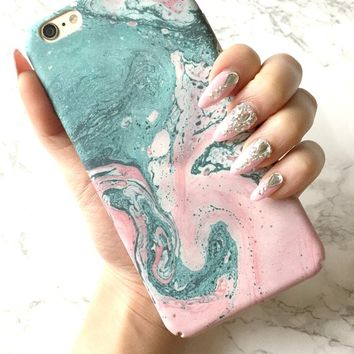 iPhone X 8 7 6 6s Plus Case, OCEAN Rose Marble Sky iPhone X Case iPhone 8 Case iPhone 7 Case Rose Gold Marble iPhone Silicone Cover