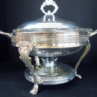 Chafing Dish with Pyrex Casserole Dish Silverplated Ornate Detailing