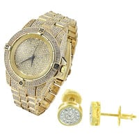 Hip Hop Designer fully Iced out Yellow Gold Finish Men's Watch  & Matching Earrings Combo Set