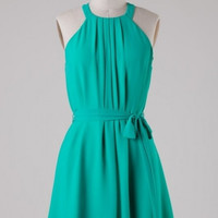 Simple Pleated High Neck Dress with Waist Tie - Caribbean Green