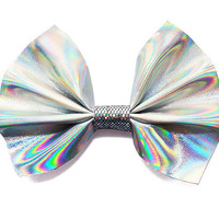 Large Silver Hologram Hair Bow Supplies Blank Accessory Iridescent Rainbow Dichromatic 90s Holographic Oil Slick