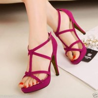 Women' Summer High Heels Shoes Ankle Buckle X-straps Stilettos Open Toe Sandals