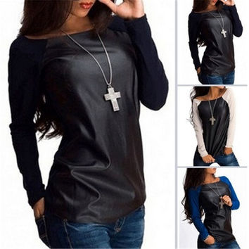 New Sexy Womens Leather Long Sleeve Sweatshirt T-Shirt Casual Loose Blouse Tops [9221915076]