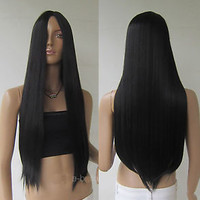 """Women Black 28"""" Long Cosplay Party Wigs Heat Resistant Full Straight Hair Wig"""
