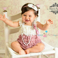 Dusty Ivory Rose Lace Romper, romper, baby girls Romper, wedding flower girl, Photo props, Baby outfit, toddler outfit, birthday outfit