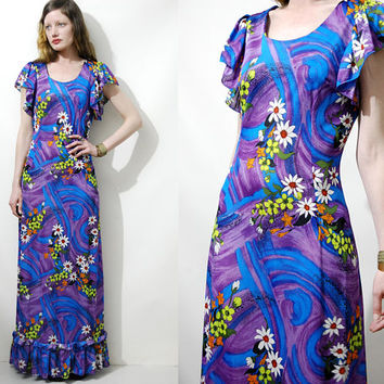 70s vintage FLORAL DRESS Flutter Frill Sleeve Purple Blue Psychedelic Swirl Print Long Maxi Tiered Bohemian Boho Hippie Retro 1970s vtg XS