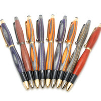Handcrafted Gun Metal Touch Stylus Pen featuring Orange / Red Spectraply, stylus pen handmade, mobile accessory; orange, red & brown stylus