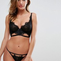 ASOS Ferne Eyelash Lace Underwired Bra Set in Black at asos.com