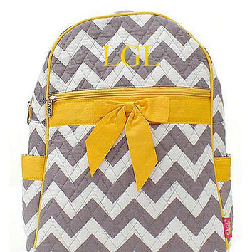 Monogrammed Grey White Yellow Chevron Quilted Backpack  Personalized Quilted Backpack