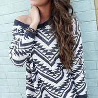 Cozy Aztec Sweater - Charcoal