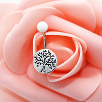 Belly button ring, Tree of life belly ring ,Tree of life  belly button jewelry
