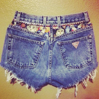 Highwaisted 'I Just Really Like Cats' Shorts by PeaceLoveStuds