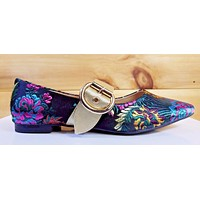 CR Zadie Satin Multi Color Embroidered Floral Design Flat Mary Jane Shoe