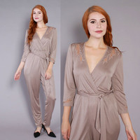 70s TAUPE Slinky JUMPSUIT / 1970s Plunging Neckline Silky Sheer Cut-Out One Piece