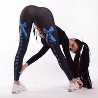2018 Women Print Fitness Leggings Stretch Bow Strap Butterfly Blue Pants Trousers High Waist Ankle Length