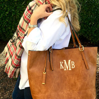MONOGRAM Brown Purse tote Leather like Weathered Font shown LIBRARY in khaki