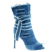Barbara20 Wash Denim Frayed & Destroyed Jean Denim Boot, Peep Toe Calf High Bootie & Strap