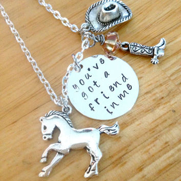Charm Necklace You've Got A Friend In Me, Cowboy Necklace, Cowgirl Necklace, Rodeo Necklace,