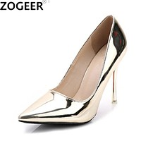 Zogeer Women Pumps Sexy Gold Silver High Heels Shoes Fashion Pointed Toe Wedding Shoes Party Women Shoes