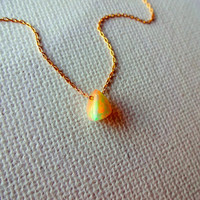 Natural Micro Ethiopian Welo Fire Opal Floating Stone Pendant & 14k Gold Fill Chain Necklace; Rough Opal Charm; Unique Gift for Her or Mom