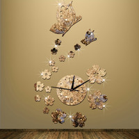 Mirror watch fashion personality living room wall clock Butterfly butterfly black black gold