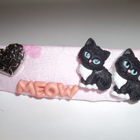 Hair Barrette - Meow Meow Cats Love Twin - on Pink(Right) - Cat Ornament Hair Clip