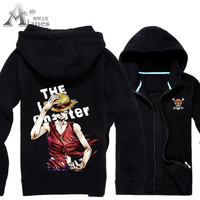 Cartoon One Piece Luffy men and women thickened brushed cardigan Hoodie Jacket = 1932476228