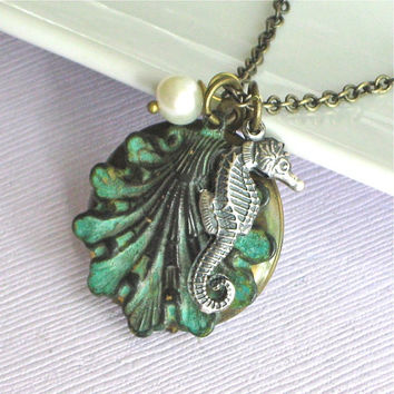 Seahorse Shell Locket Necklace   Ocean Jewelry by mcstoneworks