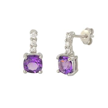 Amethyst Gemstone Stud Earrings 925 Sterling Silver CZ Row Atop Round Gem