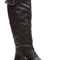 Black Faux Leather Rider Chic Calf Length Boots