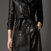 Long Lambskin Biker Trench Coat
