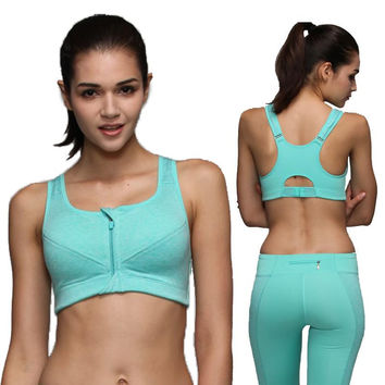 6 color options 4 shockproof professional running fitness Ms. no rims Wen chest open zipper sports underwear woman