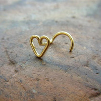14k gold filled Heart silver nose screw by PiercingRoom on Etsy