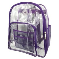 """Super Heavy Duty Clear Backpack Durable 0.5mm Vinyl Completely See Through Daypack 17"""" Transparent Student School Bookbag"""