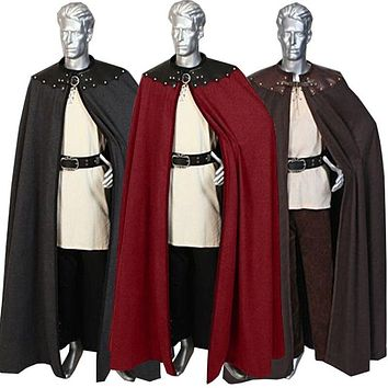 Adult Men 12th 13th Century England Queen Prince Costume Larp Medieval Knight Maxi Cloak Cape Warrior Viking Cos Robe For Men