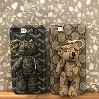 Fashion Online Gucci / Goyard Bear Pu Mobile Phone Shell Iphone Phone Cover Case For Iphone 8 8plus Iphone6 6s 6plus 6s-plus Iphone 7 7plus