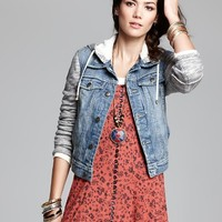 Free People Jacket - Denim and Knit Hooded