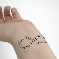 Quote Temporary Tattoo - Ink, Love, Possitive, Infinity Symbol, Tattoo, Motivational quote, Accessories