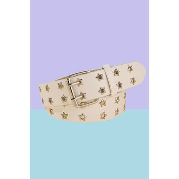 Stars Are Blind Grommet Belt - White
