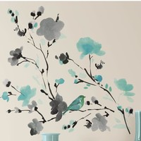 Room Mates Blossom Watercolor Bird Branch Peel & Stick Wall Decal