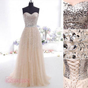 New Women Champagne Sequins Tulle Long Party Evening Gowns Prom Cocktail Dresses