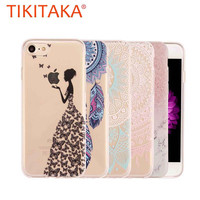 Ultra Thin Soft TPU Silicon Case For iphone 7 6 6S Plus SE 5 5S Cover Cute Dandelion feather Butterfly Flower Pattern Funda Capa