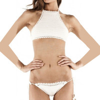 Halter Knitted Bikini Set