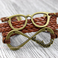 Ancient bronze glasses with 'one direction' charm, brown wax rope weaving bracelets, jewelry gift the best friendship