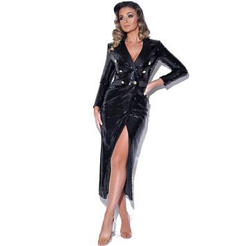Irresistible Black Sequin Overcoat with Double Breasted Bottons