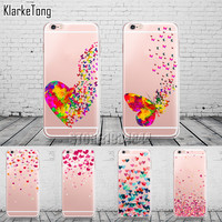 Watercolor Butterfly Pink Love Heart Case For iphone 6 6s 5 5s se 7 7Plus Transparent Silicon Protective Cell Phone Cases Cover